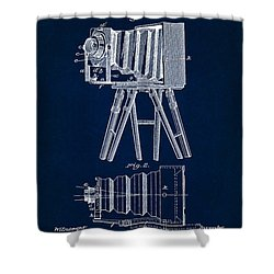 1885 Camera Us Patent Invention Drawing - Dark Blue Shower Curtain