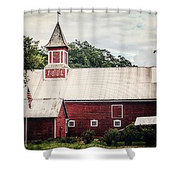 1886 Red Barn Shower Curtain by Lisa Russo