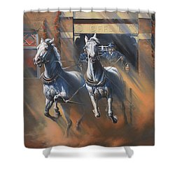 1890's First Responders Shower Curtain by Mia DeLode