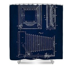 1891 Camera Us Patent Invention Drawing - Dark Blue Shower Curtain