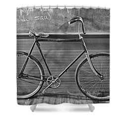 Shower Curtain featuring the photograph 1895 Bicycle by Joan Reese