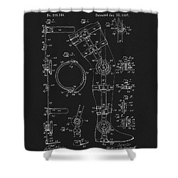 1897 Artificial Leg Patent Shower Curtain by Dan Sproul