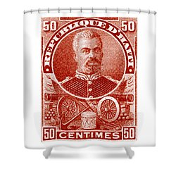 Shower Curtain featuring the painting 1898 President Of Haiti Stamp by Historic Image