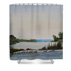 Shower Curtain featuring the painting 19 Geese by Marilyn  McNish