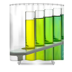 Shower Curtain featuring the photograph Laboratory Test Tubes In Science Research Lab by Olivier Le Queinec