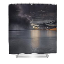 Sunst Over The Ocean Shower Curtain by Peter Lakomy