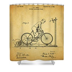 1900 Bicycle Exercise Stand Shower Curtain by Dan Sproul