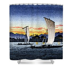 1900 Japanese Fishermen Shower Curtain