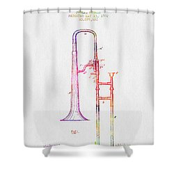 1902 Trombone Patent - Color Shower Curtain by Aged Pixel