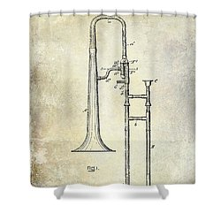 1902 Trombone Patent Shower Curtain by Jon Neidert