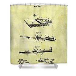 Shower Curtain featuring the mixed media 1903 Mouse Trap Patent by Dan Sproul