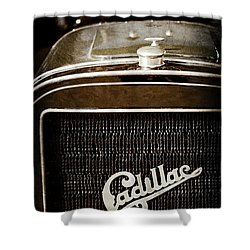 Shower Curtain featuring the photograph 1907 Cadillac Model M Touring Grille Emblem -1106ac by Jill Reger