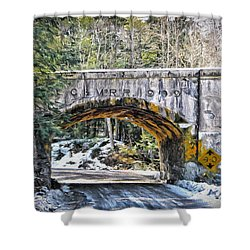 1909 Country Backroad Train Overpass Shower Curtain