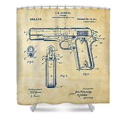 1911 Colt 45 Browning Firearm Patent Artwork Vintage Shower Curtain by Nikki Marie Smith