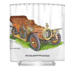 Shower Curtain featuring the painting 1911 Delaunay Belleville Open Tourer by Jack Pumphrey