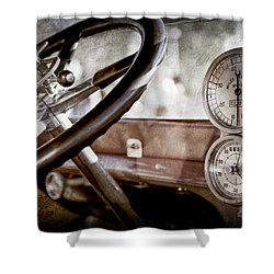 Shower Curtain featuring the photograph 1914 Rolls-royce 40 50 Silver Ghost Landaulette Steering Wheel -0795ac by Jill Reger