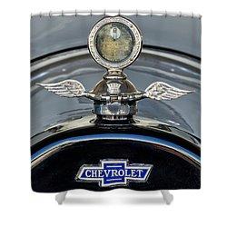 1915 Chevrolet Touring Hood Ornament 2 Shower Curtain by Jill Reger