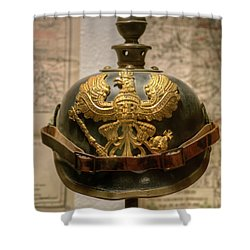 1915 Prussian Artillery Spiked Pickelhaube Helmut Shower Curtain