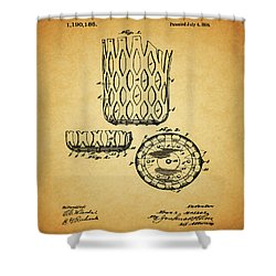 Shower Curtain featuring the mixed media 1916 Pool Table Pocket Patent by Dan Sproul