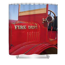 1919 Volunteer Fire Truck Shower Curtain by Jill Reger