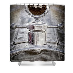 Shower Curtain featuring the photograph 1920 Pierce-arrow Model 48 Coupe Hood Ornament -2829ac by Jill Reger