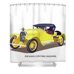 Shower Curtain featuring the painting 1923 Kissel Kar  Gold Bug Speedster by Jack Pumphrey