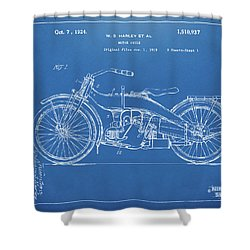 Shower Curtain featuring the digital art 1924 Harley Motorcycle Patent Artwork Blueprint by Nikki Marie Smith