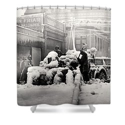 1925 Boston Fire Engine Encased In Ice Shower Curtain