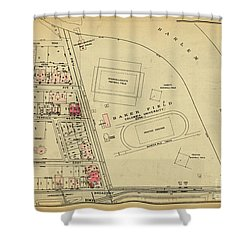 Shower Curtain featuring the photograph 1927 Baker Field Map  by Cole Thompson