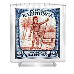 Shower Curtain featuring the painting 1927 Cook Island Rarotongan Chief Stamp by Historic Image
