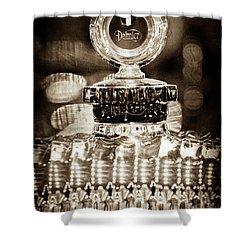 Shower Curtain featuring the photograph 1928 Daimler Hood Ornament - Moto Meter -0616s by Jill Reger