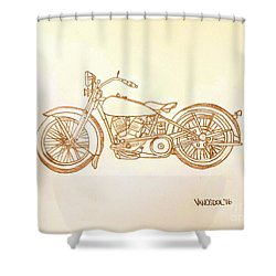 1928 Harley Davidson Motorcycle Graphite Pencil - Sepia Shower Curtain