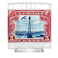 1928 Rocky Mountain Beacon Stamp Shower Curtain