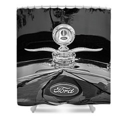 Shower Curtain featuring the photograph 1929 Ford Model A Hood Ornament Bw by Rich Franco