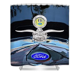 Shower Curtain featuring the photograph 1929 Ford Model A Hood Ornament  by Rich Franco