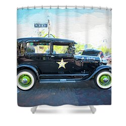 Shower Curtain featuring the photograph 1929 Ford Model A Tudor Police Sedan  by Rich Franco