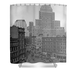 Shower Curtain featuring the photograph 1929 Summer Street In Dock Square Boston by Historic Image