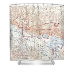 1929 Usgs Map Of Grand Teton National Park Wyoming  Shower Curtain