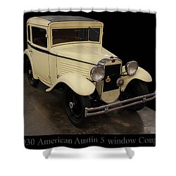 Shower Curtain featuring the digital art 1930 American Austin 5 Window Coupe by Chris Flees