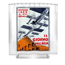 Shower Curtain featuring the painting 1930 Italian Air Show by Historic Image