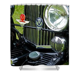 1930s Aston Martin Front Grille Detail Shower Curtain by John Colley