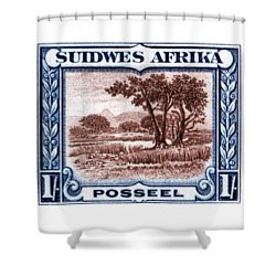 Shower Curtain featuring the painting 1931 South West African Landscape Stamp by Historic Image