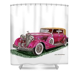 Shower Curtain featuring the painting 1932 Cadillac All Weather Phaeton V 16 by Jack Pumphrey