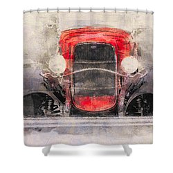 1932 Ford Roadster Red And Black Shower Curtain