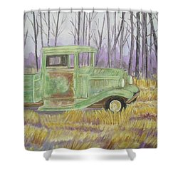 1932  Greenford Pickup Truck Shower Curtain by Belinda Lawson