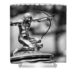 1932 Pierce Arrow Hood Ornament Shower Curtain by Gordon Dean II