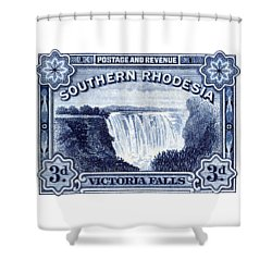 Shower Curtain featuring the painting 1932 Southern Rhodesia Victoria Falls Stamp by Historic Image