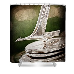 Shower Curtain featuring the photograph 1932 Studebaker Dictator Hood Ornament -0850ac by Jill Reger