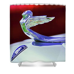 Shower Curtain featuring the photograph 1933 Plymouth Hood Ornament -0121rc by Jill Reger