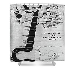 1933 Tennessee Valley Authority Map Shower Curtain by Daniel Hagerman